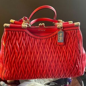 Coach Madison Leather Gathered Twist Carrie Satche